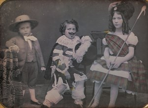 Three Children in Costume, 1850s.