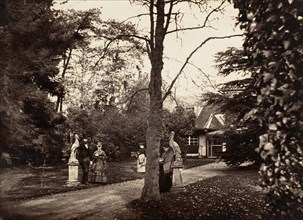 Autumn Scene with People on Lawn near Cottage, ca. 1855.