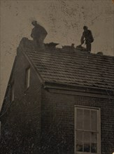 Two Roofers Working Atop a Building, 1860s-80s.