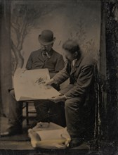 Two Men Reviewing Plans, 1860s-70s.