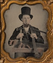 Carpenter in Top Hat with Hatchet, Compass, Square, and Hand Saw, 1850s-60s.