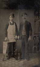 Two Carpenters with a Handsaw, Wood Plane, Hammer, Compass, and Square, 1880s.