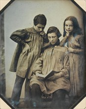 [Three Children, One Seated Holding an Open Book, the Other Two Standing, in Front of a Light Background], ca. 1845.