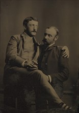 Two Men Smoking, One Seated in the Other's Lap, 1880s-90s.