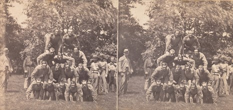 250 Stereographs of US Views, 1850s-90s. [War Views, no. 814. Gymnastic Field Sports of the Gallant 7th. A four-story pile of Men.]