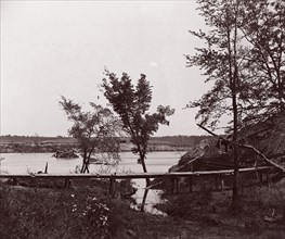 Fort Darling. Masked Battery and Obstruction in James River, ca. 1865. Formerly attributed to Mathew B. Brady.