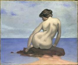 Baigneuse assise sur un rocher, 1910. Creator: Vallotton, Felix Edouard (1865-1925).