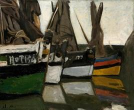 Bateaux de pêche á Honfleur (Fishing boats in Honfleur), ca 1866. Creator: Monet, Claude (1840-1926).