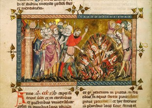 Burning of the Jews in 1349. Miniature from: Tractatus quartus by Gilles de Muisit, ca 1353. Creator: Pierart dou Tielt (active ca 1325-1355).