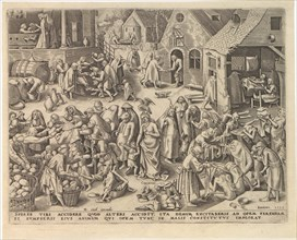 Caritas (Charity) from The Seven Virtues, 1559. Creator: Galle, Philipp (Philips) (1537-1612).
