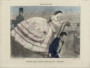 Excellent moyen d'arriver. From Modes pour rire, 1855-1859. Creator: Vernier, Charles (1813-1892).