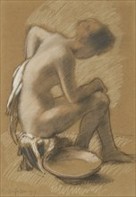 Femme à sa toilette (Woman at her toilet), 1917. Creator: Rassenfosse, Armand (1862-1934).