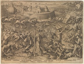 Fortitudo (Fortitude) from The Seven Virtues, 1559. Creator: Galle, Philipp (Philips) (1537-1612).
