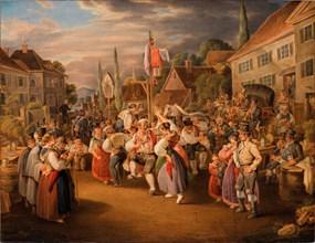 Harvest festival with rooster dance, 1839. Creator: Pflug, Johann Baptist (1785-1866).