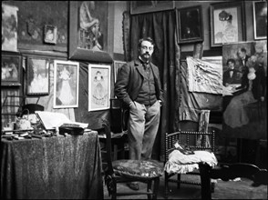 Henri Matisse in the workshop of Henri Evenepoel, 1897. Creator: Evenepoel, Henri Jacques Edouard (1872-1899).