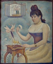 Jeune femme se poudrant (Young woman powdering herself), 1889-1890. Creator: Seurat, Georges Pierre (1859-1891).