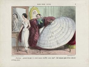 Justine, penses-tu que je serai assez étoffée avec cela?... From Modes pour rire, 1855-1859. Creator: Vernier, Charles (1813-1892).