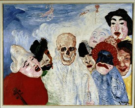 Les masques et la mort (Masks and death), 1897. Creator: Ensor, James (1860-1949).