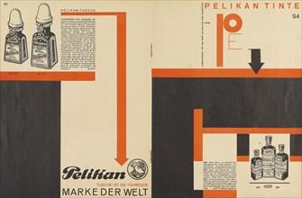 Merz 11 Pelican Ink advertisement, 1924. Creator: Schwitters, Kurt (1887-1948).