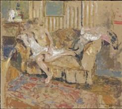 Nu dans le salon rayé, c. 1905. Creator: Vuillard, Édouard (1868-1940).