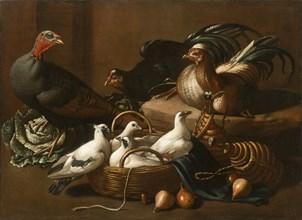 Poultry in the Kitchen, Mid of 17th cen.. Creator: Kerckhoven (Giacomo da Castello), Jacob van der (1636/37-after 1712).