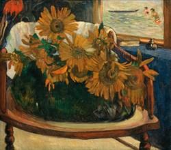 Sunflowers on an armchair (Tournesols sur un fauteuil), 1901. Creator: Gauguin, Paul Eugéne Henri (1848-1903).