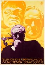 Telephonic Transmission of the Munich State Opera, 1924. Creator: Hohlwein, Ludwig (1874-1949).