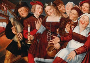 The bride being led to the bridal bed. Creator: Massys (Matsys), Jan (1510-1575).
