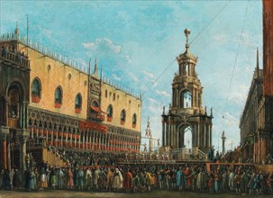 The Giovedì Grasso Festival in front of the Ducal Palace in Venice, 1830s. Creator: Bison, Giuseppe Bernardino (1762-1844).