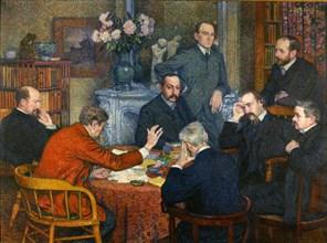 The Lecture by Emile Verhaeren, 1903. Creator: Rysselberghe, Théo van (1862-1926).