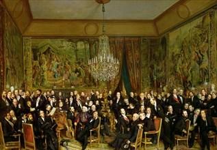 The Salon of Alfred Emilien, Comte de Nieuwerkerke (1811-1892) at the Louvre, 1855. Creator: Biard, François-August (1798-1882).