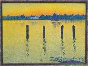 Voilier sur l'Escaut (Sailing Boat on the River Escaut), 1892. Creator: Rysselberghe, Théo van (1862-1926).