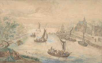 Landscape with River in the Center, with Ferryboat, 18th century (?). Creator: Anon.