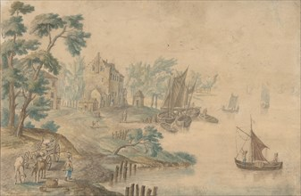 Landscape with Horses and Carts and a River at Right, 18th century (?). Creator: Anon.