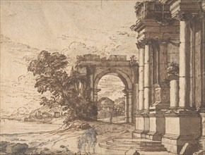 Landscape with Classical Architecture by a Lake, 17th century. Creator: Anon.