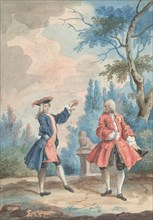 Two dancing male figures in a landscape, 18th century. Creator: Anon.