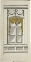 Design for a Window with Yellow Drapery, 18th century. Creator: Anon.