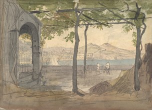 View of the Bay of Naples with Mount Vesuvius, early 19th century. Creator: Anon.