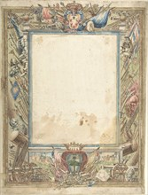 Design for a Frame with Armorial Trophies, the Medici Coat of Arms..., 16th century. Creator: Anon.