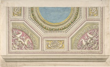 Design for a Decorated Ceiling, 19th century. Creator: Anon.