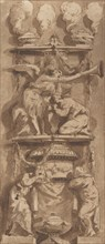 Design for a Funerary Monument or Epitaph with Mourning Figures, 18th century. Creator: Anon.