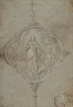 Drawing for a Standard with Christ in Glory Flanked by Putti, 16th century. Creator: Anon.