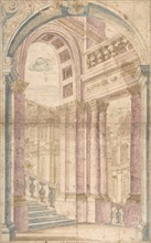 Design for a Painted Wall Decoration: Architectural Perspective Seen Through..., 1700-1780. Creator: Anon.