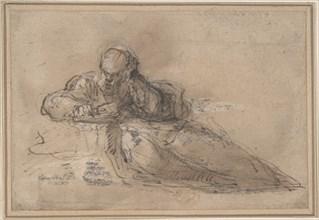 Man Seated on the Ground, Writing, 17th century. Creator: Anon.