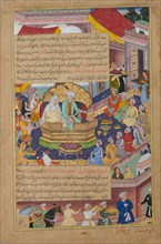Tumanba Khan, His Wife, and His Nine Sons, Folio from a Chingiznama..., ca. 1596. Creators: Basawan, Bhim Gujarati.
