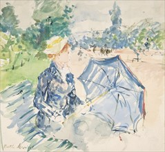 A Woman Seated at a Bench on the Avenue du Bois, 1885. Creator: Berthe Morisot.