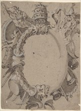 Design for Cartouche with Banners, Drums, Leaves and a Woman's Head with Tiara., 1732-1802.