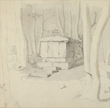 A Stone Tomb in a Forest; verso: Study of a Flower, 1830. Creator: Christen Købke.