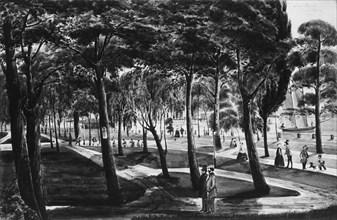 Battery Park, New York, 1849. Creator: Christian Gottlieb Cantzlier.