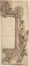 Design for a Half Frame Decorated with Angels, Volutes and Garlands., 1634-89. Creator: Attributed to Ciro Ferri.